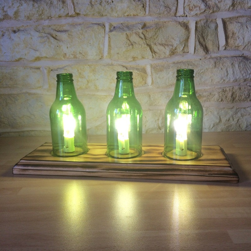 Upcycled lamp beer bottle lamp recycled bottle modern lamp for Unique glass bottles