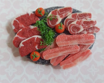 Raw meat platter on a chopping board, miniature steaks, bacon and chops  one inch scale,  dollhouse miniature food, kitchen food 1/12 scale