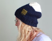 Navy and Cream Color Block Slouchy Beanie Cute Coin Pocket Hat Cozy Hat Hand Knit Beanie for Women Gift for Her