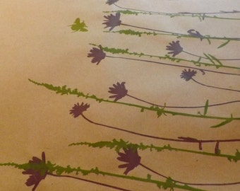Gift Wrap -Bees and Wildflowers Gift Wrap |Handmade | Screen Printed | Recycled Paper | Eco Friendly