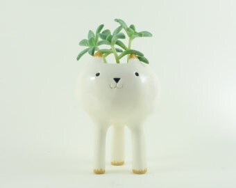 Tiny Cat Planter, Desktop Planter, White Pottery Plant Pot, White Planter