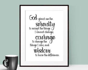 Serenity Prayer Wall Art - Christian Quote Print - Meditation Prayer - Inspirational Art - Motivational Quote - Gift Idea - Digital Download