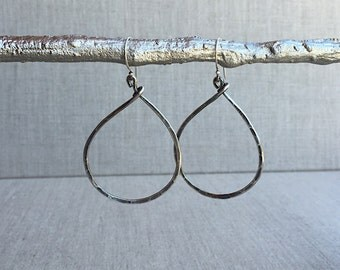 Silver Hoop Earrings, Sterling Silver Hammered Hoop Earrings