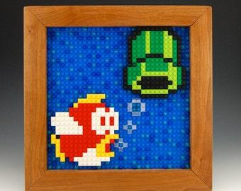 Lego Nintendo's Cheep Cheep and Warp Pipe Mosaic