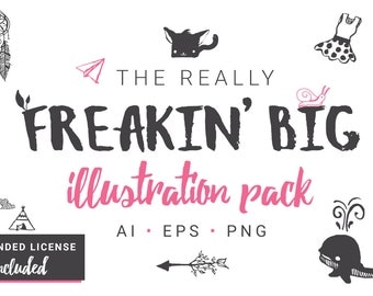 Really Freakin' Big Illustration Pack [Hand-drawn 1000+ Objects] [Extended License]- EPS, AI,PNG -Vector Clip Art