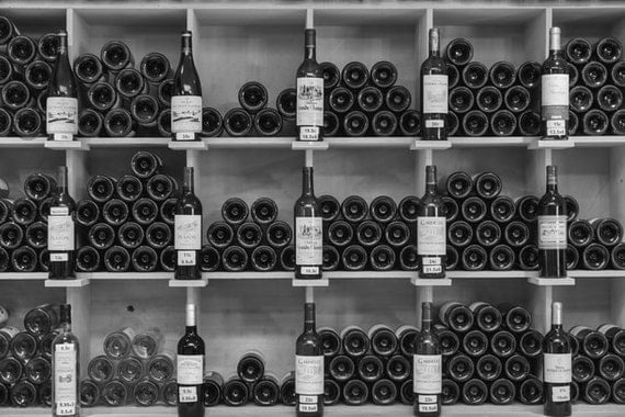 Black And White Wine Wall Decor : Wine bottles photo black and white print decor