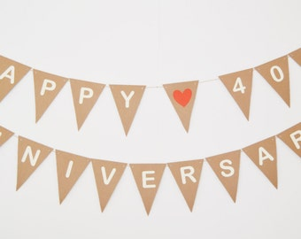 Personalised Happy Anniversary Bunting, Party Decoration, Wedding Anniversary, Celebration Party, Custom 10th, 40th,50th,60th