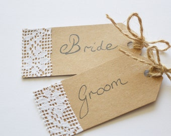 Wedding Favour Tag, Bride and Groom Tags, Name Label, Luggage Tag, Rustic Place Card, Personalised/Custom Tags