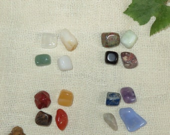 Elements- Sixteen Polished Stones Set- Four Each For Air, Earth, Fire and Water