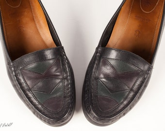 Vintage 80s Loafers | Shoe Size 7 | Hand-Sewn Moccasin | Clarks Colorblock | 90s Loafer | Leather Shoes