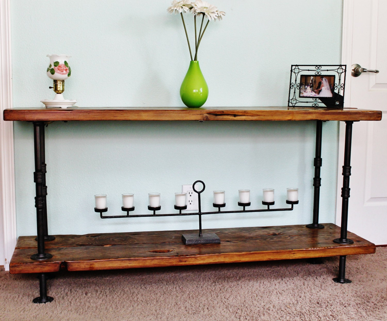 Console table sofa table reclaimed wood console table pipe zoom geotapseo Gallery