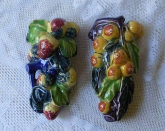 Pair Vintage Majolica Wall Pockets Made in Japan Never Used Strawberries & Peaches Fruit Pottery w Vibrant Colors Wall Decor ~ 4538b