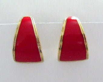 vintage red and gold tone triangle earrings, 1980's retro clip on earrings,  retro costume jewellery