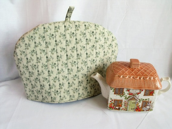 "quilted fabric tea cozy, lined tea pot warmer, kitchen decor, cotton fabric cosy, green floral fabric, 12.5"" wide x 9"" high"