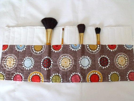 brush pouch, make up brush holder, make up brush roll, cosmetic brush case, brown floral fabric