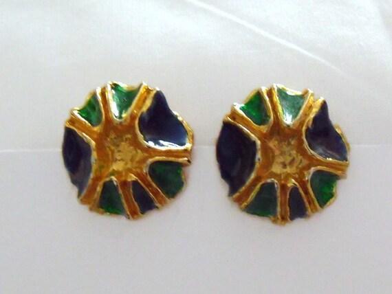 vintage enamelled gold tone earrings, 1980's retro purple and green earrings,  retro costume jewellery