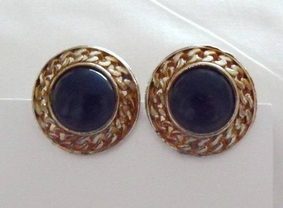 huge vintage gold tone and petrol blue earrings, 1980's retro large round clip on earrings,  retro costume jewellery