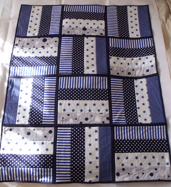 """navy quilted throw, patchwork quilt, blue duvet, swaddle blanket, blue & white, baby play mat, aprox 39"""" x 52"""""""