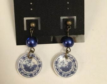 Blue China Earring