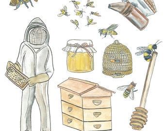 Watercolor Bee Keeper Clipart