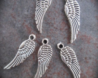 Angel wing charms package of 5 tiny charms Memorial Sympathy charms Religious Charms