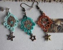 Two Toned Hand Tatted Lace Earrings with Star Charms