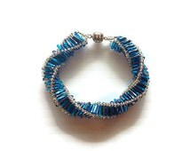 Spiral Bead Bracelet for Women - Dark Aqua Bead Bracelet - Original Handmade Bracelet - Women's Fashion Jewellery