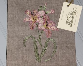 Linen Tea Towel - Embroidered Tea Towel - Floral Tea Towel - Lily Tea Towel