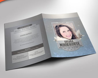 Winter Cool Funeral Program Photoshop Template 8 Pages