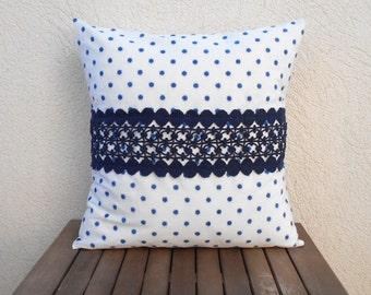 Decorative Pillow Cover, Polka Dot Pillow, Lace Throw Pillow, Navy Pillow Case, 18x18 Pillows, Home Decor Pillow, Blue Pillow Cover