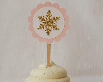 Gold Snowflake Cupcake Toppers Set of 12, Pink Winter Wonderland First Birthday Decoration, Cake Picks, Onederland Princess Birthday Party
