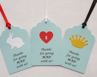 Alice in Wonderland Birthday Party Favor Tags: 'Thanks for going MAD with us!', Set of 12