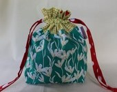 Green Flowers Project Bag