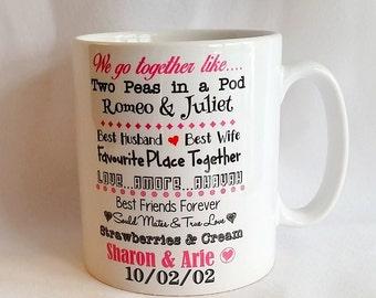 We Go Together Like Personalised Couples Mug - romeo and juliet mug