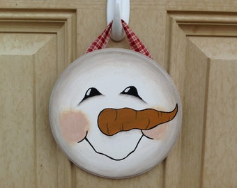 Primitive Snowman Face Sign, Snowman Decor, Winter Decor