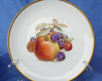 Eschenbach Bavaria Baronet China Decorative Plate with Apple / Cherry Fruit Pattern and Gold Trim