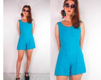 90s Blue Romper Jumpsuit Shorts Playsuit Bright Blue Dress 1990s S M