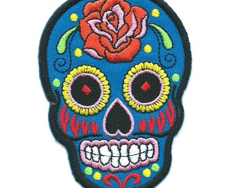 Blue Rose Sugar Skull Iron On Patch Embroidered Applique