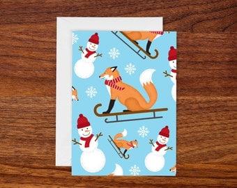 "Blue Sledding Fox Pattern Greeting Card 4 Bar (3.5"" x 4.875"") Winter Notecard"