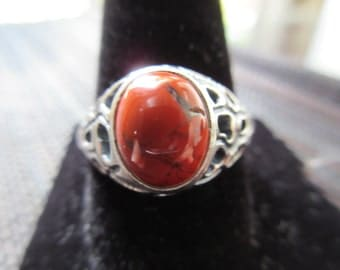 Retro Sterling Silver Coral Ring (3)