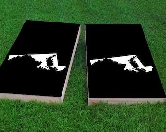 Maryland State Light Weight (1x4) Regulation Size Custom Cornhole Board Game Set - Corn Hole - Bag Toss
