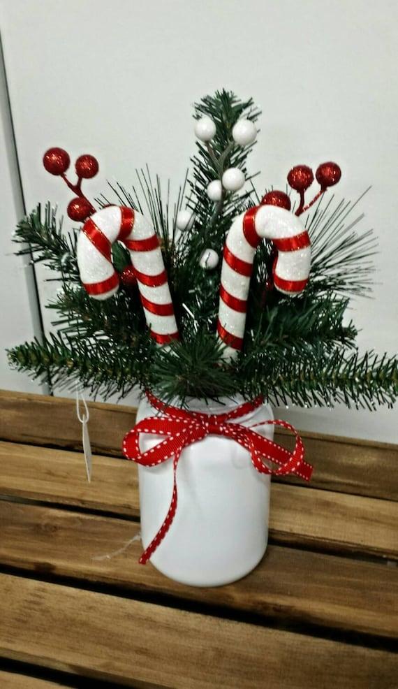 Mason jar candy cane arrangement christmas floral