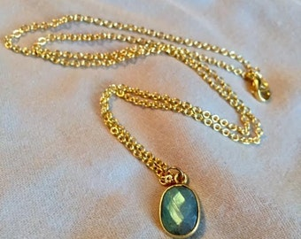 Labradorite and Gold Pendant