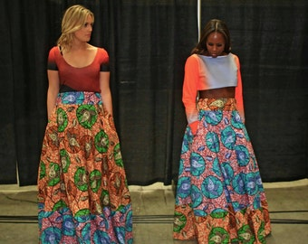 Maxi Skirt | ALEÁ MAXI SKIRT with Pockets | Women's Ankara Maxi Skirt | Kitenge Maxi Skirt