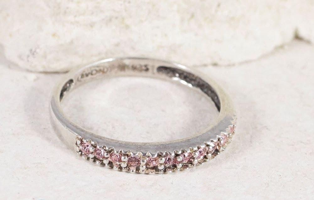sterling silver avon cut pink tourmaline ring nbj109