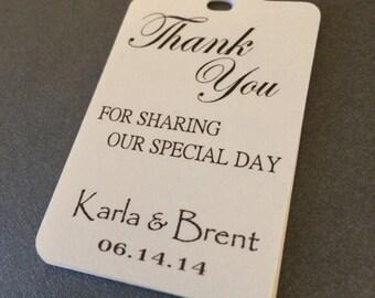 50 Custom Wedding Thank You Tags -Personalized Wedding Favor Tags