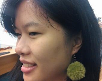 Fluffy Yarn Light Green Pompon Earrings