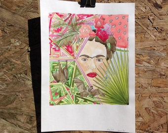 Original illustration watercolour painting of Frida Kahlo, fruit bats, tropical leaves, and watermelon A4
