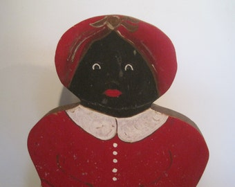 Mid Century Hand Painted Black Folk Art Aunt Jemima Style Wood Shelf Sitter African American
