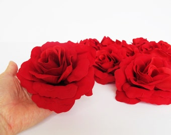 "10 Red Silk Roses Rose Artificial Flowers 4.7"" DIY Wedding Home Roses Decor Love Day Floral Hair Accessories Flower Supplies Fa"